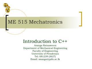 ME 515 Mechatronics