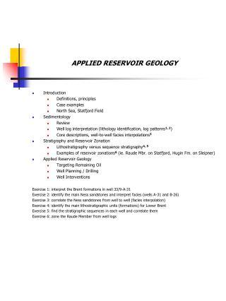 APPLIED RESERVOIR GEOLOGY