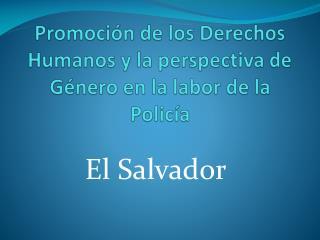 Promoción de los Derechos Humanos y la perspectiva de Género en la labor de la Policía