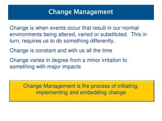 Managing Change  Transition