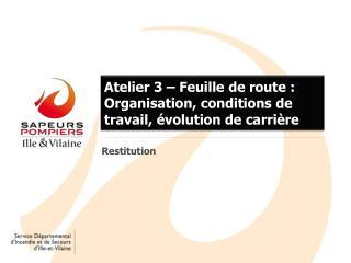 Atelier 3 – Feuille de route : Organisation, conditions de travail, évolution de carrière