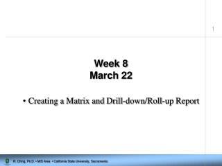 Week 8 March 22