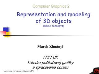 Representation and modeling  of 3D objects (basic concepts)