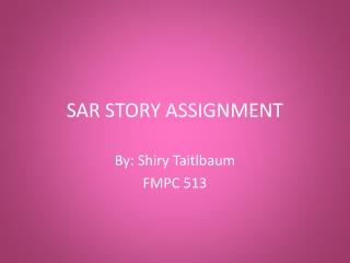 SAR STORY  ASSIGNMENT