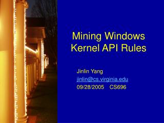 Mining Windows Kernel API Rules