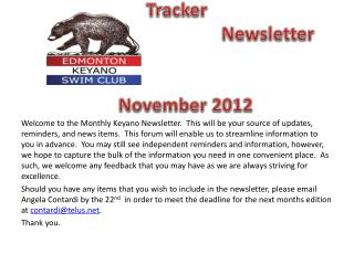 Bear Tracker 											Newsletter			 					November 2012
