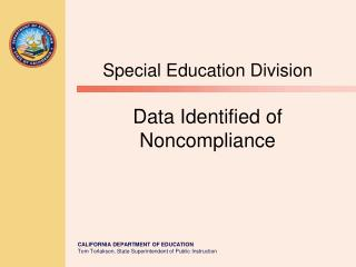 Special Education Division Data Identified of Noncompliance