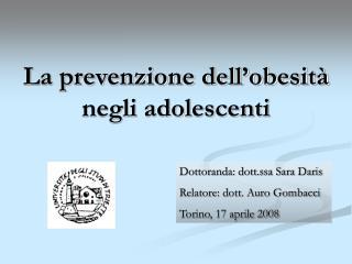 La prevenzione dell'obesità negli adolescenti