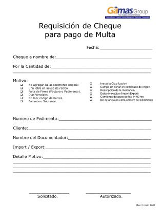 Requisición de Cheque  para pago de Multa