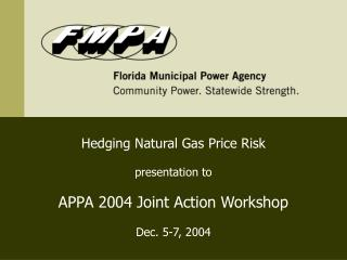 Hedging Natural Gas Price Risk presentation to APPA 2004 Joint Action Workshop Dec. 5-7, 2004