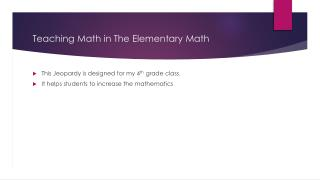 Teaching Math in The Elementary Math