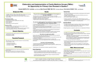 Elaboration and Implementation of Family Medicine Groups (FMGs):