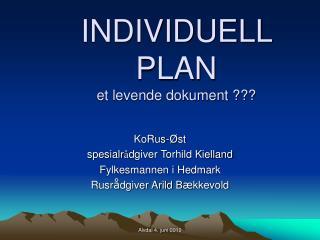 INDIVIDUELL PLAN et levende dokument ???