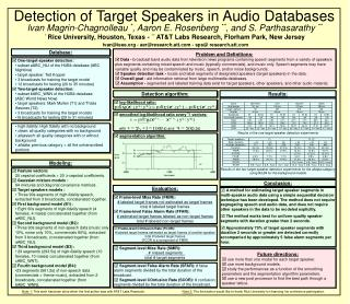 Detection of Target Speakers in Audio Databases
