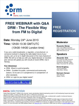 FREE WEBINAR with Q&A DRM - The  F lexible  W ay  from  FM to Digital