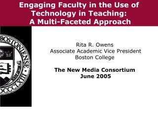 Engaging Faculty in the Use of Technology in Teaching: A Multi-Faceted Approach