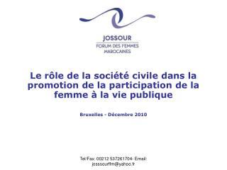 Le rôle de la société civile dans la promotion de la participation de la femme à la vie publique