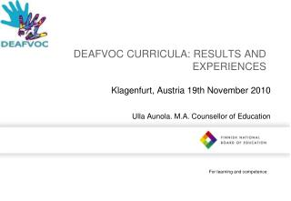 DEAFVOC CURRICULA: RESULTS AND EXPERIENCES