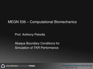 MEGN 536 � Computational Biomechanics