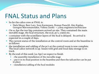 FNAL Status and Plans