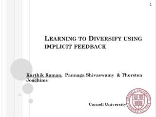 Learning to Diversify using implicit feedback