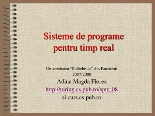 Sisteme de programe pentru timp real