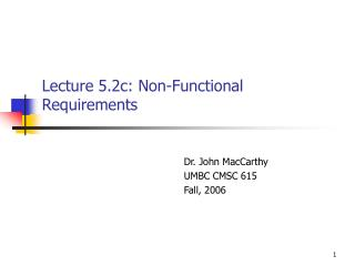 Lecture 5.2c: Non-Functional Requirements