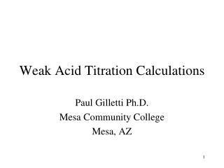 Weak Acid Titration Calculations