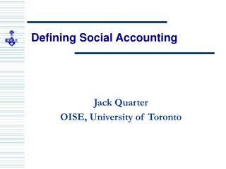 Defining Social Accounting