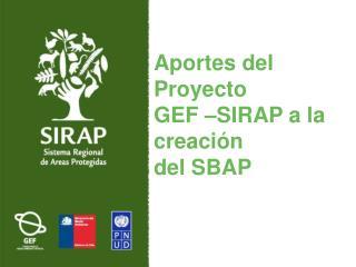 Aportes del Proyecto  GEF –SIRAP a la creación  del SBAP