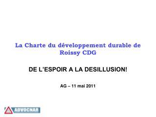 La Charte du développement durable de Roissy CDG