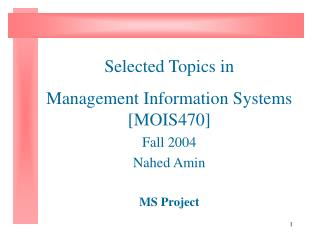 Selected Topics in Management Information Systems [MOIS470] Fall 2004 Nahed Amin MS Project