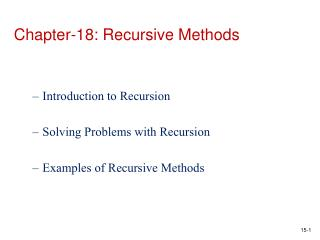 Chapter-18: Recursive Methods