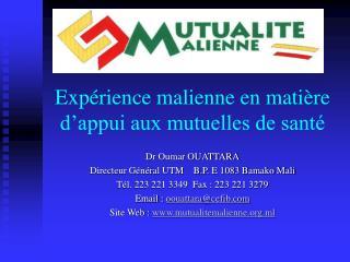 Expérience malienne en matière d'appui aux mutuelles de santé