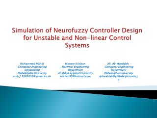 Simulation of  Neurofuzzy  Controller Design for Unstable and Non-linear Control Systems