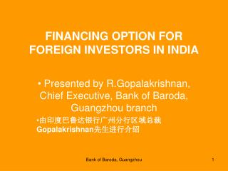 FINANCING OPTION FOR FOREIGN INVESTORS IN INDIA