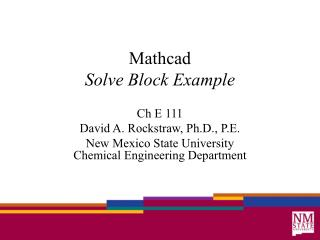 Mathcad Solve Block Example