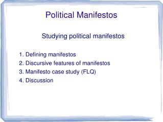 Political Manifestos