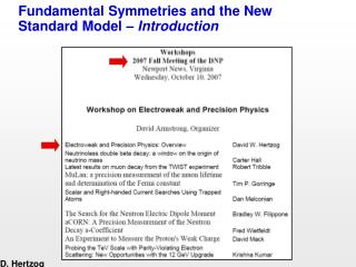Fundamental Symmetries and the New Standard Model –  Introduction