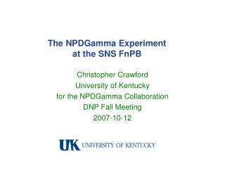 The NPDGamma Experiment at the SNS FnPB