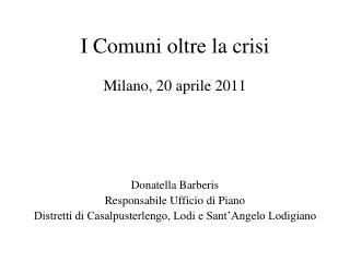 I Comuni oltre la crisi