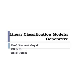 Linear Classification Models: Generative