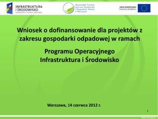 Wniosek o dofinansowanie dla projektów z zakresu gospodarki odpadowej w ramach