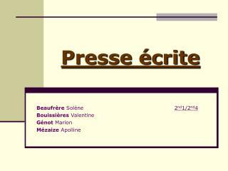 Presse �crite