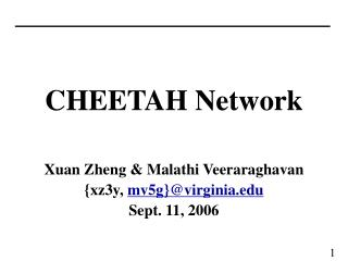 CHEETAH Network Xuan Zheng & Malathi Veeraraghavan {xz3y,  mv5g}@virginia Sept. 11, 2006