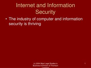 Internet and Information Security