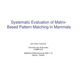 Systematic Evaluation of Matrix-Based Pattern Matching in Mammals