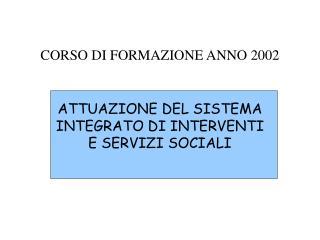 CORSO DI FORMAZIONE ANNO 2002
