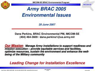 Army BRAC 2005  Environmental Issues 20 June 2007