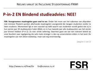 Nieuws  vanuit  de  Facultaire Studentenraad  FNWI